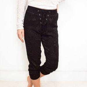 Lace Up Jacquard Sweat Pants